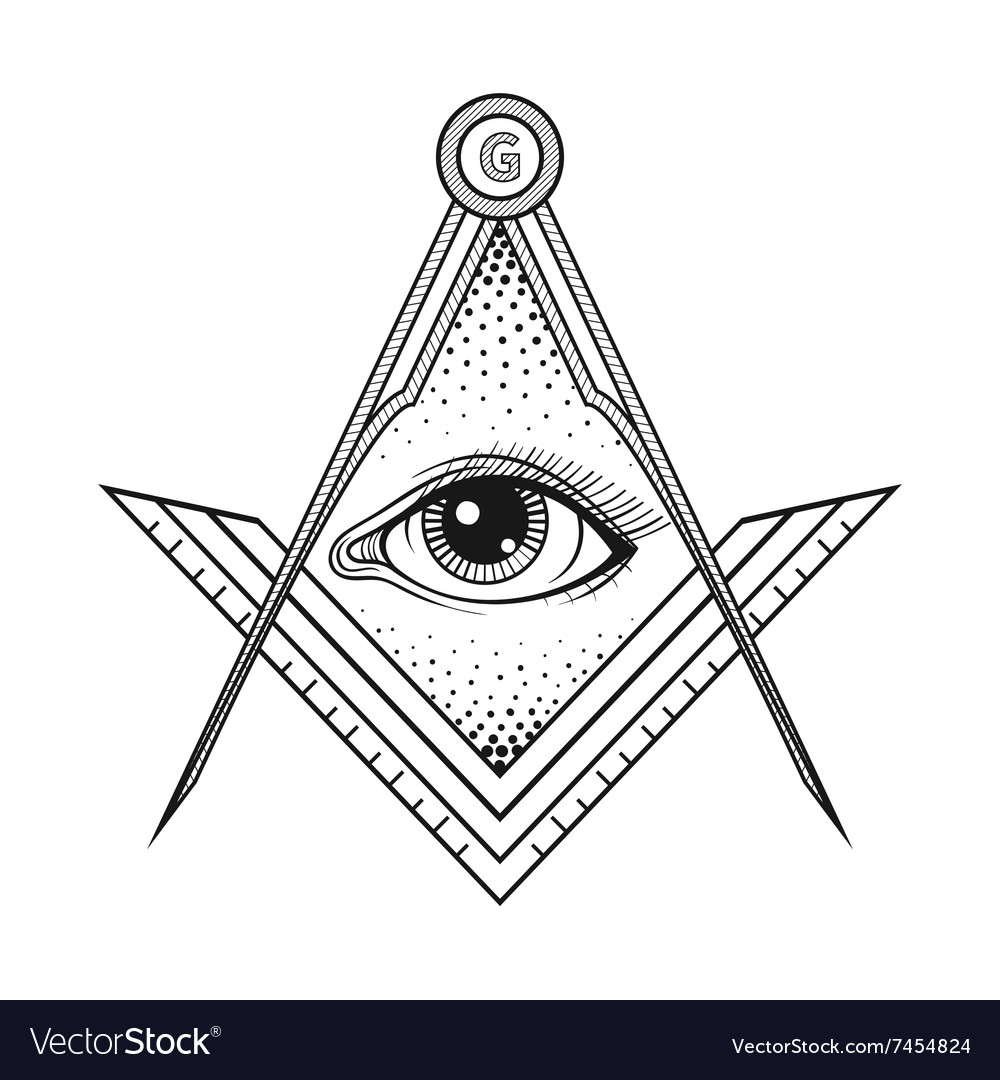 Masonic Square And Compass Symbol With All Seeing Vector Image
