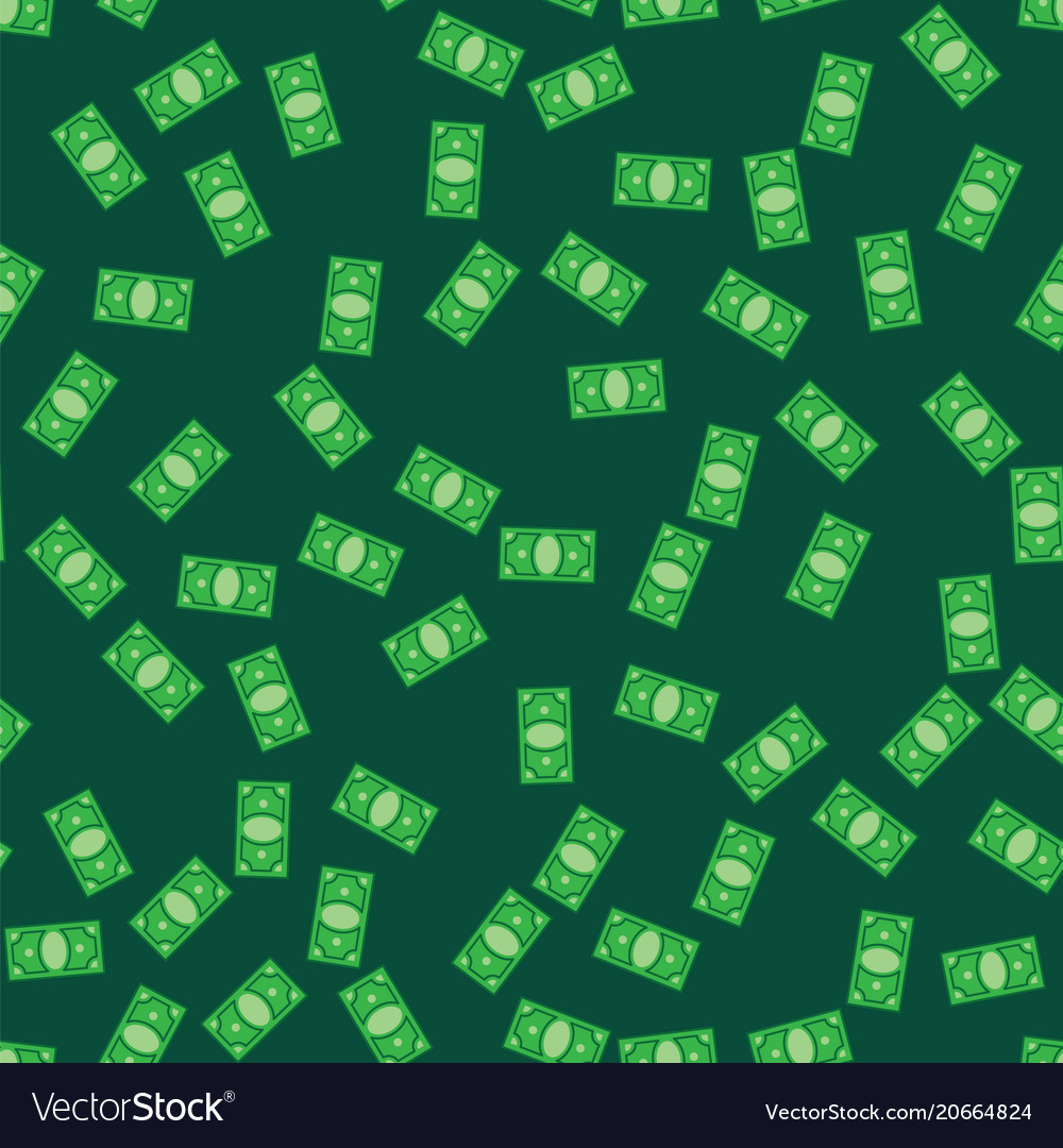 Money bank notes on green pattern background