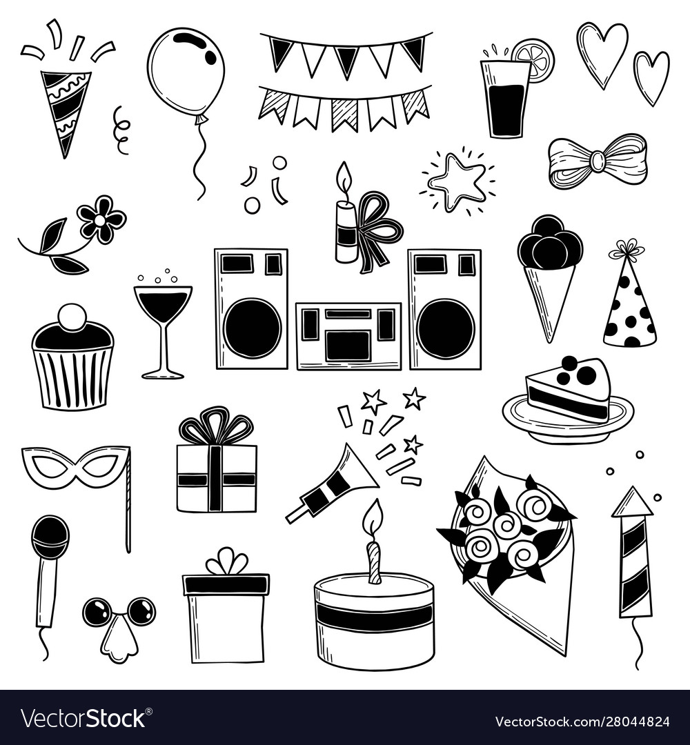 Party icons funny birthday disco music