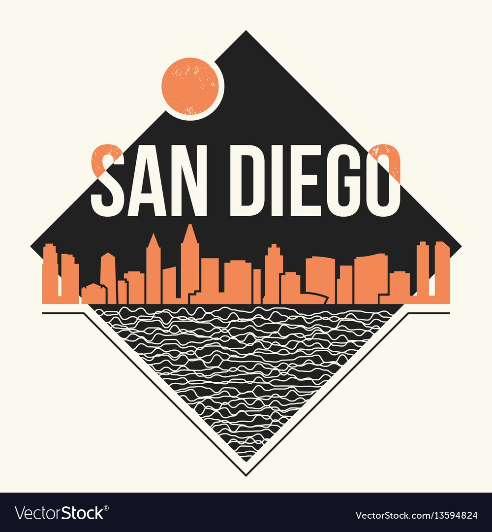 San Diego Graphic T Shirt Design Tee Print Vector Image