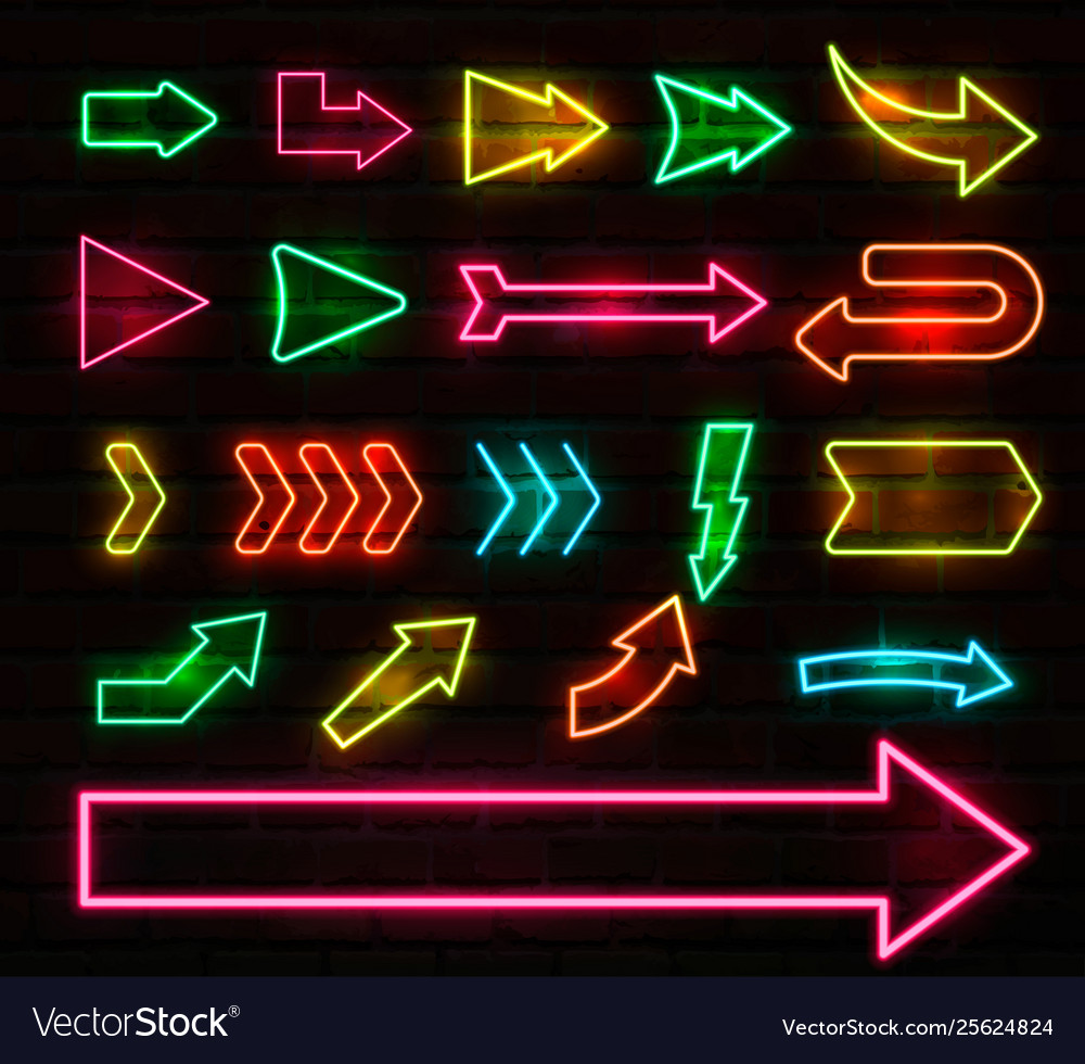 Set colorful neon arrows and pointers