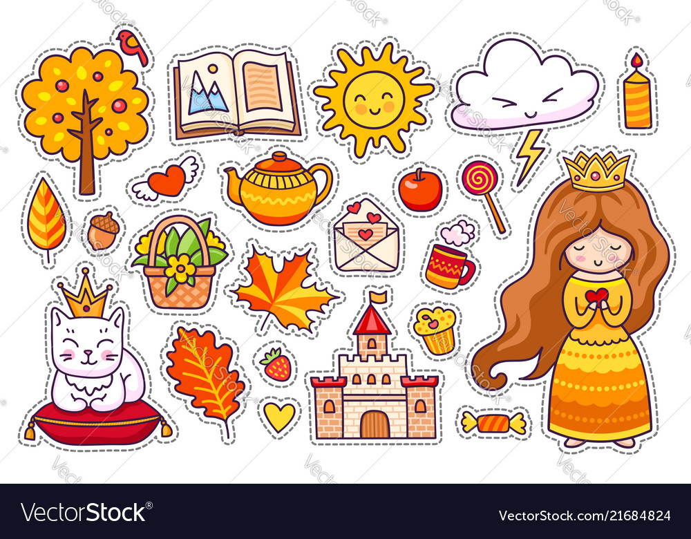 Set of cute autumn stickers