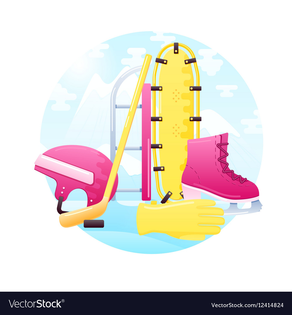 Set of detailed flat winter activity vector image