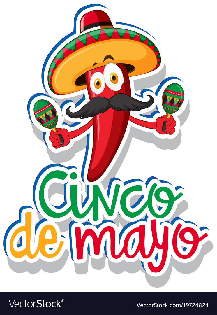 Sticker Template | Sticker Template For Cinco De Mayo With Red Chili Vector Image