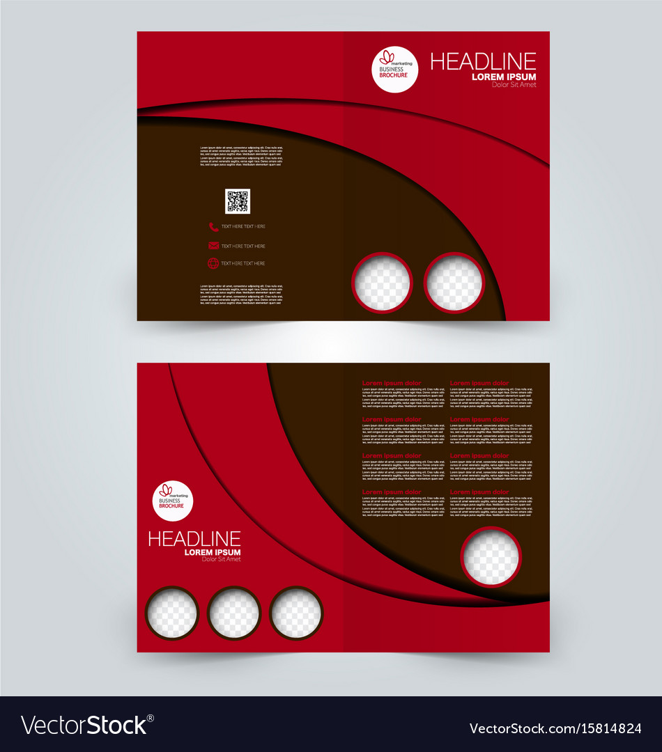2 Fold Brochure Template Free: Two Page Fold Brochure Template Design Royalty Free Vector