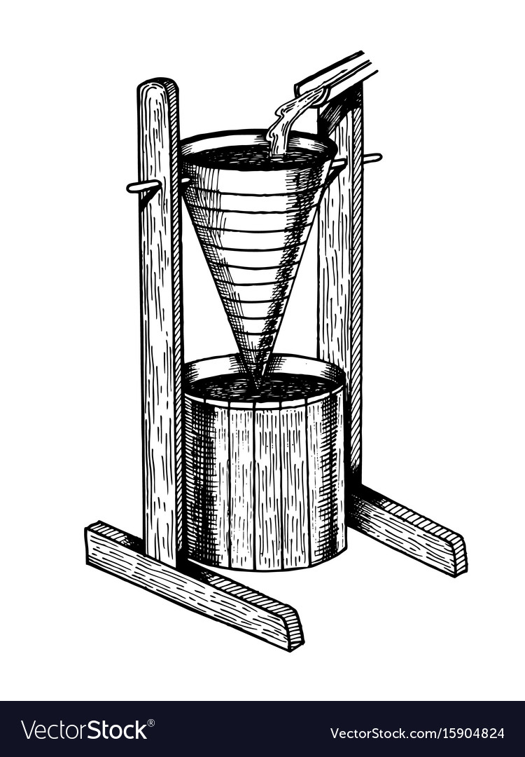 Water clock clepsydra engraving style vector image