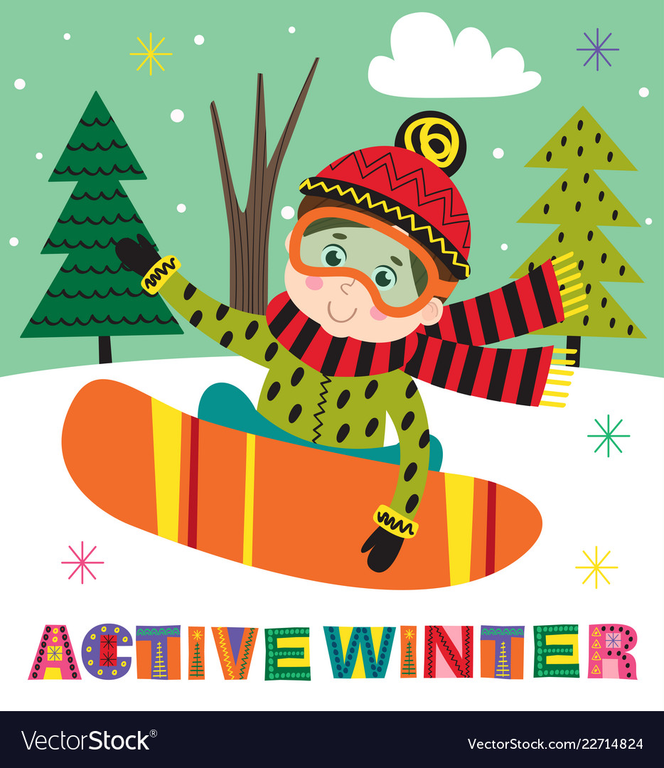 Winter Poster With Boy On Snowboard Royalty Free Vector