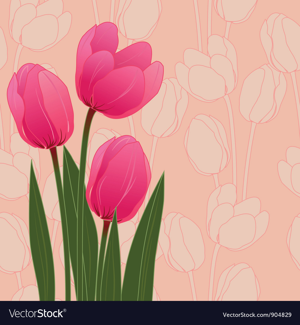 Abstract floral with tulips on blue background