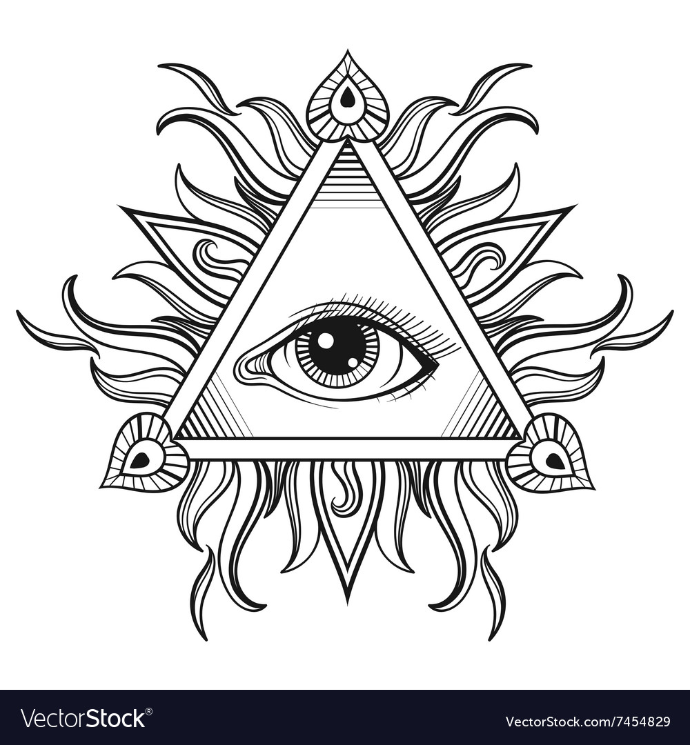 All Seeing Eye Pyramid Symbol In Tattoo Royalty Free Vector