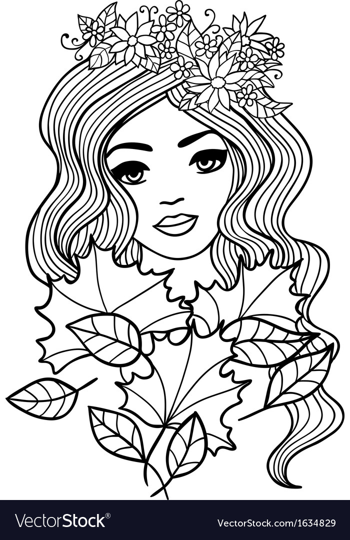 Black and white outline girl with fall leaves Vector Image