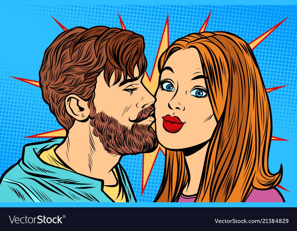 Couple man kissing woman