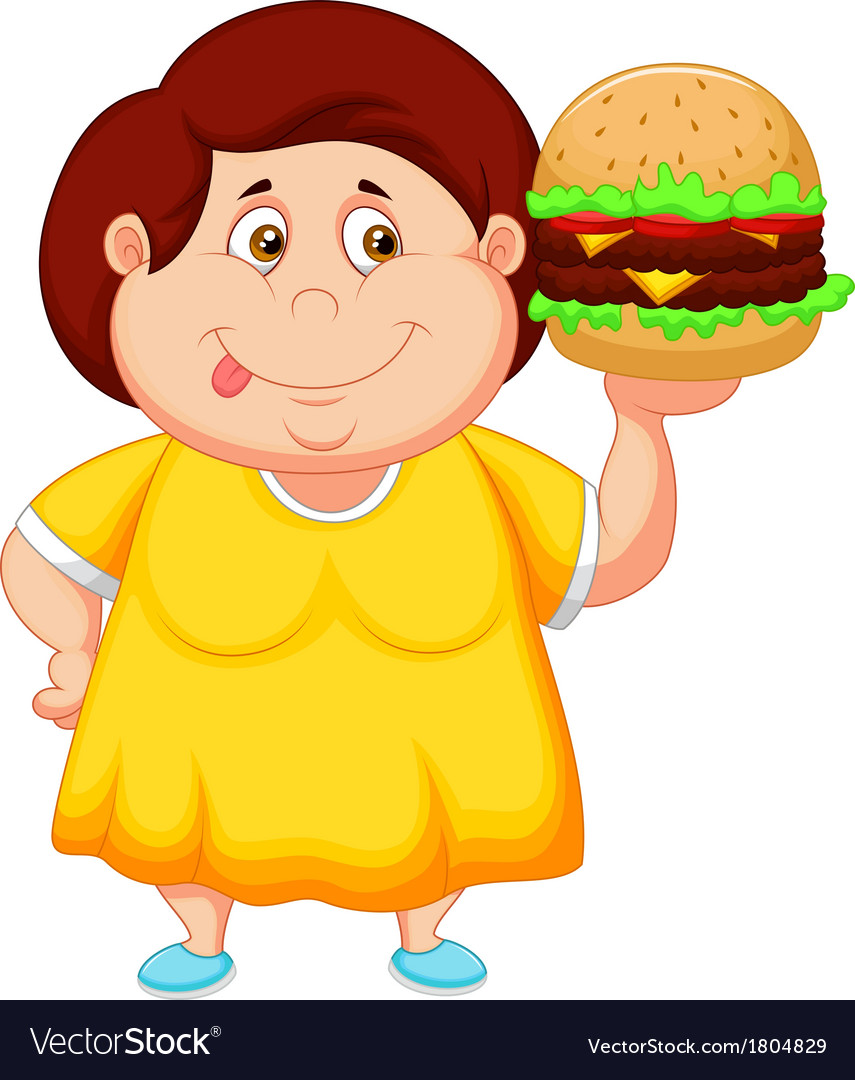 Fat girl cartoon smiling and ready to eat a big ha