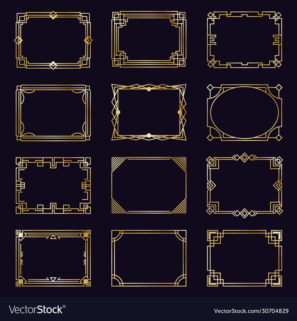 Golden art deco frames modern gold elegant vector