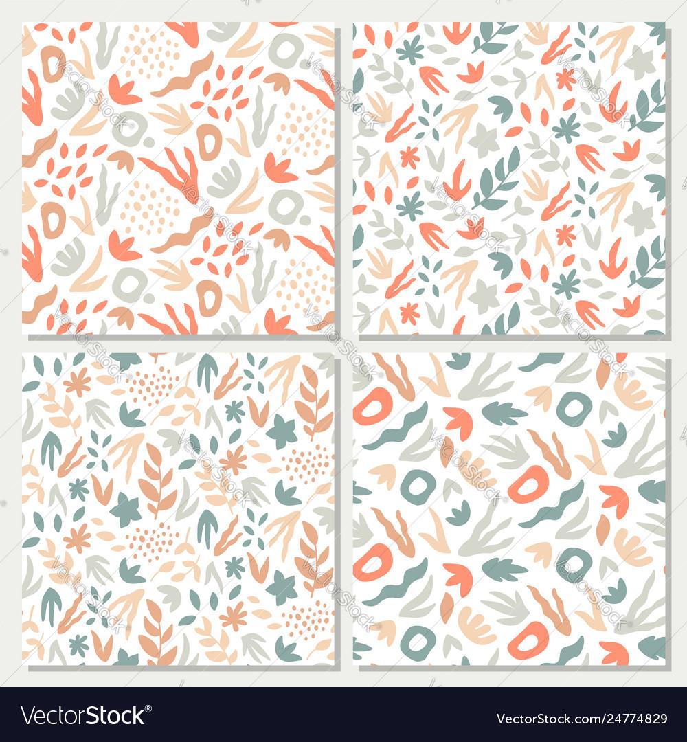 Hand-drawn seamless background set foliage