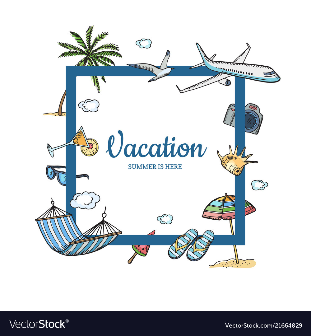Hand drawn summer travel elements text