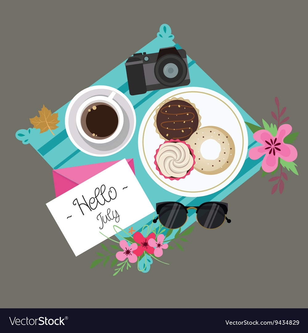 Hello July welcome spring summer session donuts