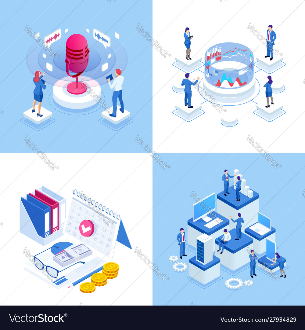 Isometric business concepts businessmen and