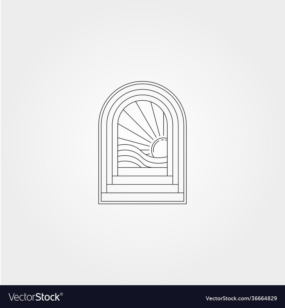 Line art door logo design with ocean wave icon