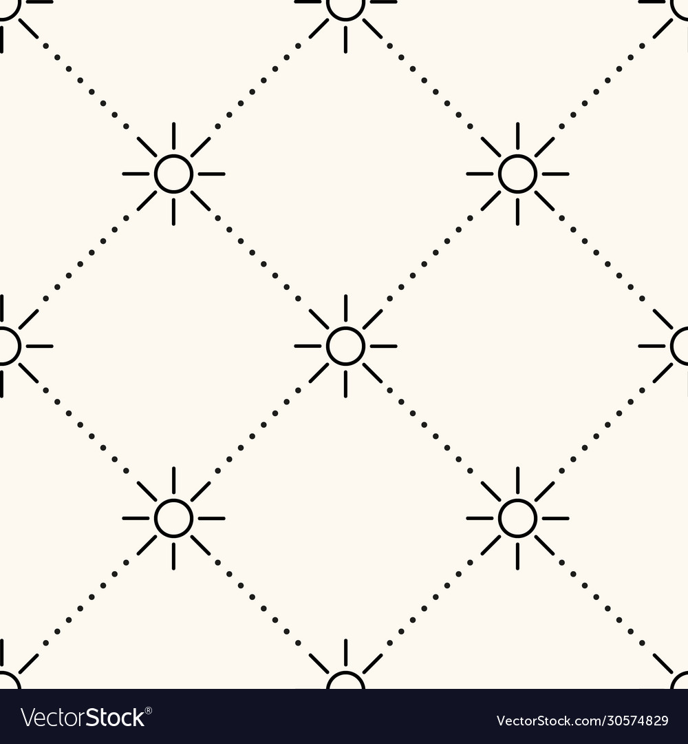 Seamless geometric pattern with sun icons