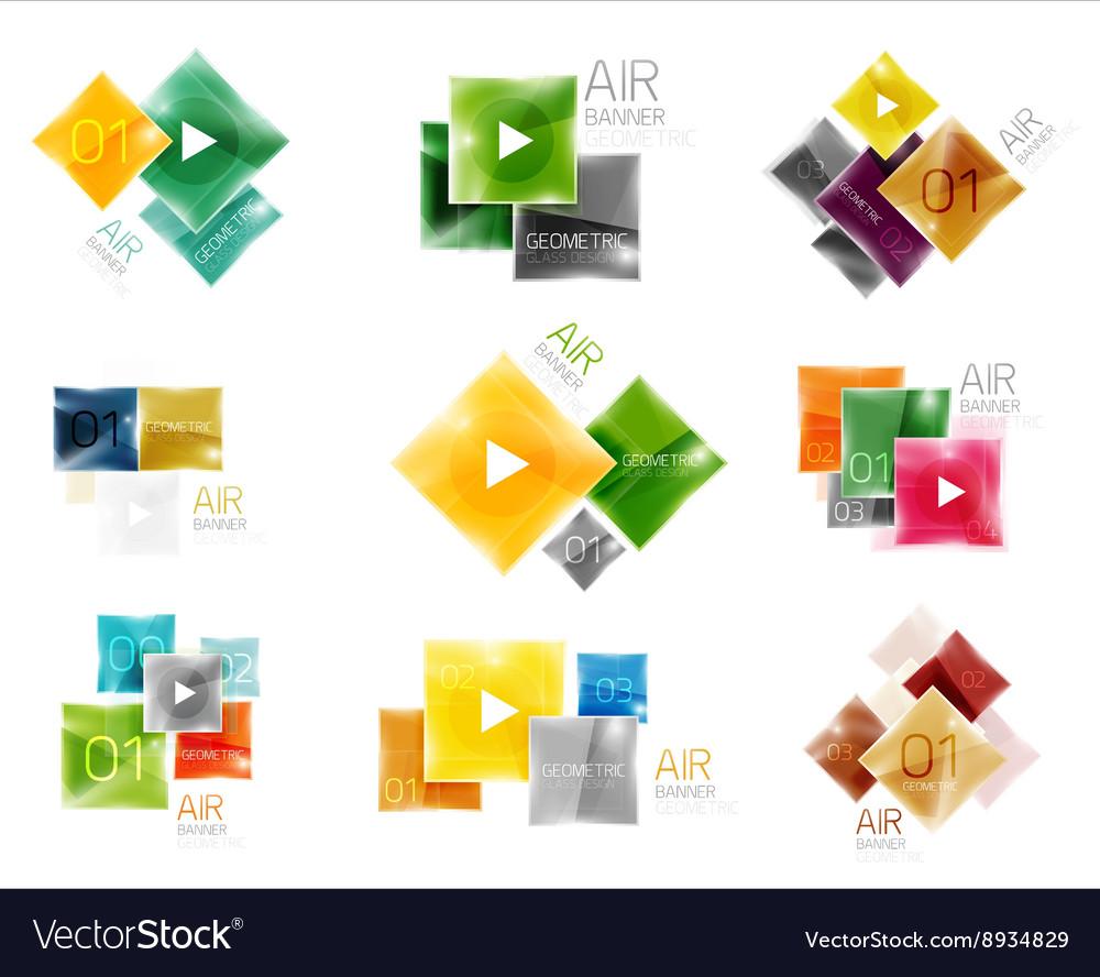 Set of square web boxes