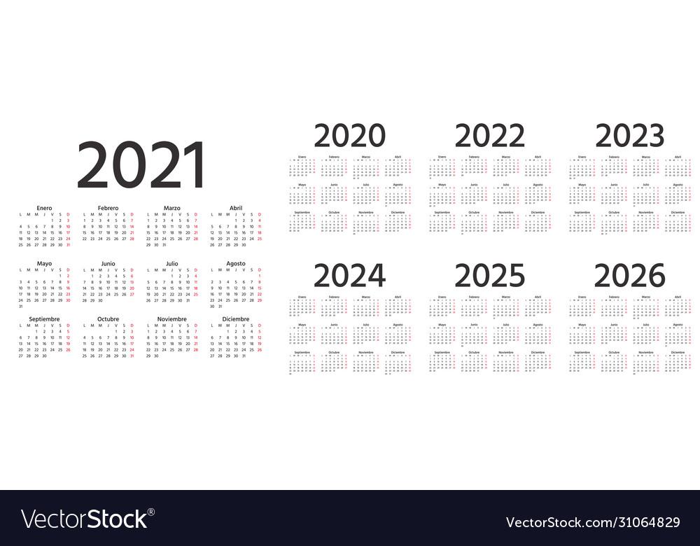 Spanish Calendar 2022.Spanish Calendar 2021 2022 2023 2024 2025 2026 Vector Image