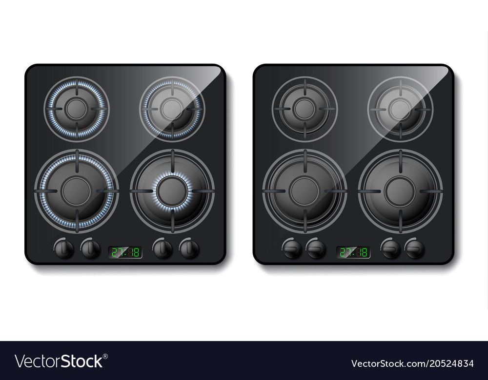 Realistic Gas Stove Top View Royalty