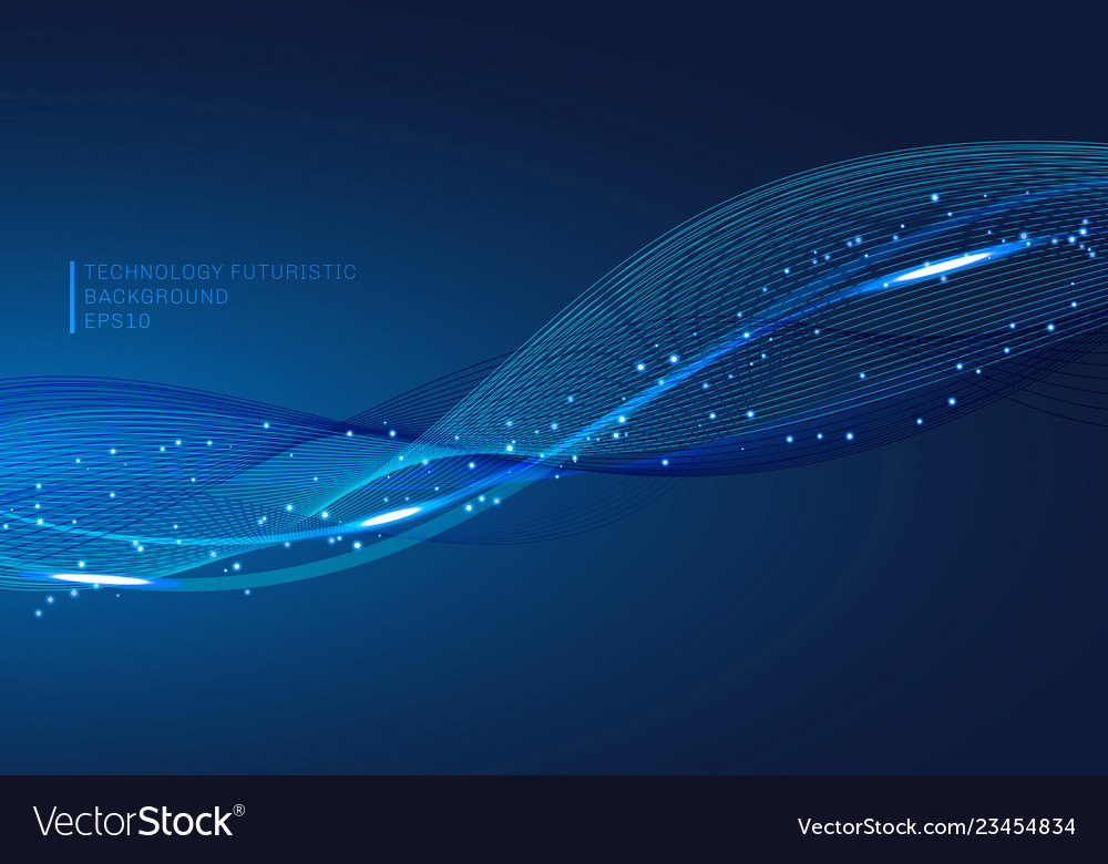 Abstract blue lines wave glowing light element