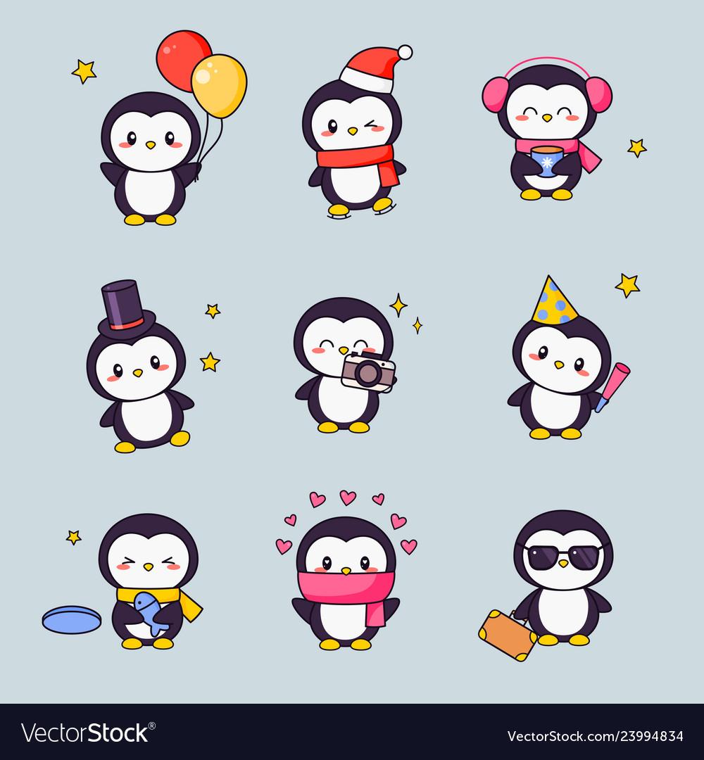 Cute penguin kawaii clipart sticker set bird