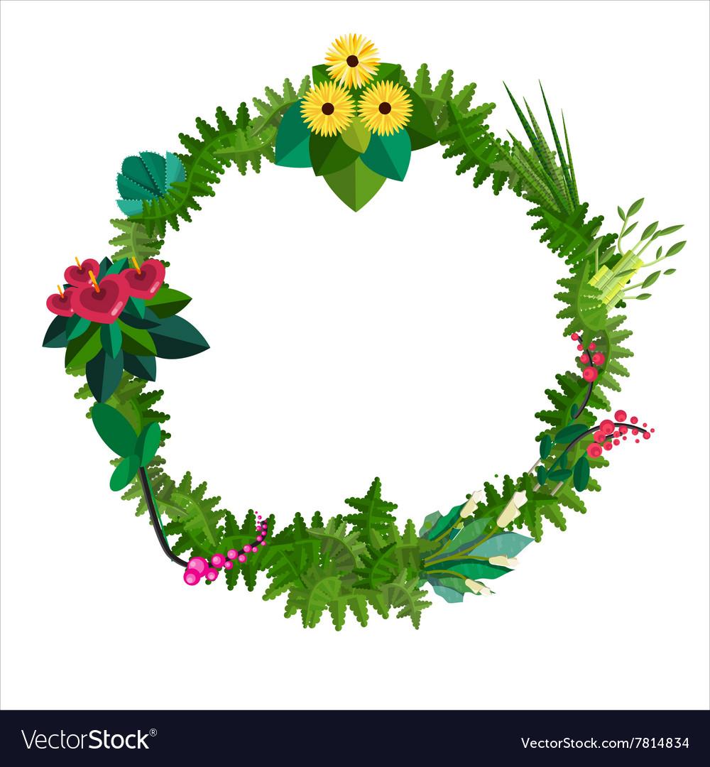 Flat colorful circular floral wreaths
