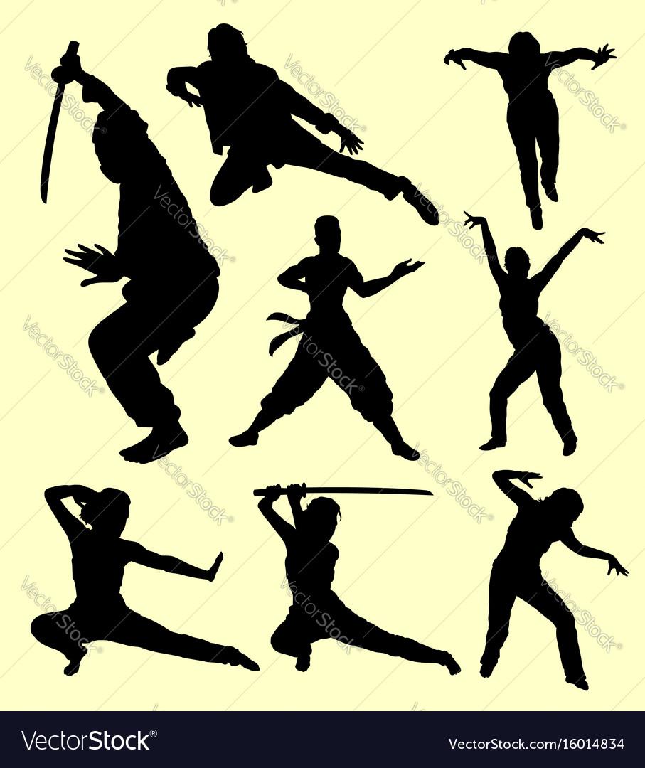 Martial art using sword sport silhouette vector image