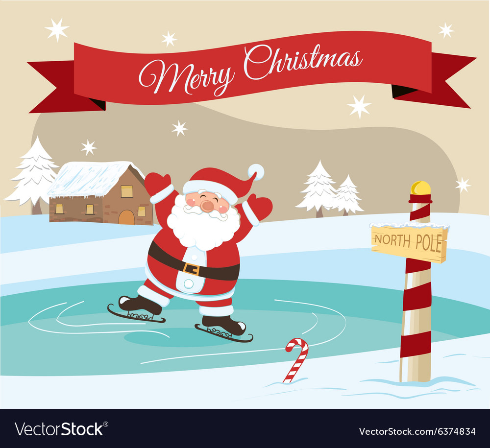 Christmas Ice Skating.Merry Christmas Santa Ice Skating