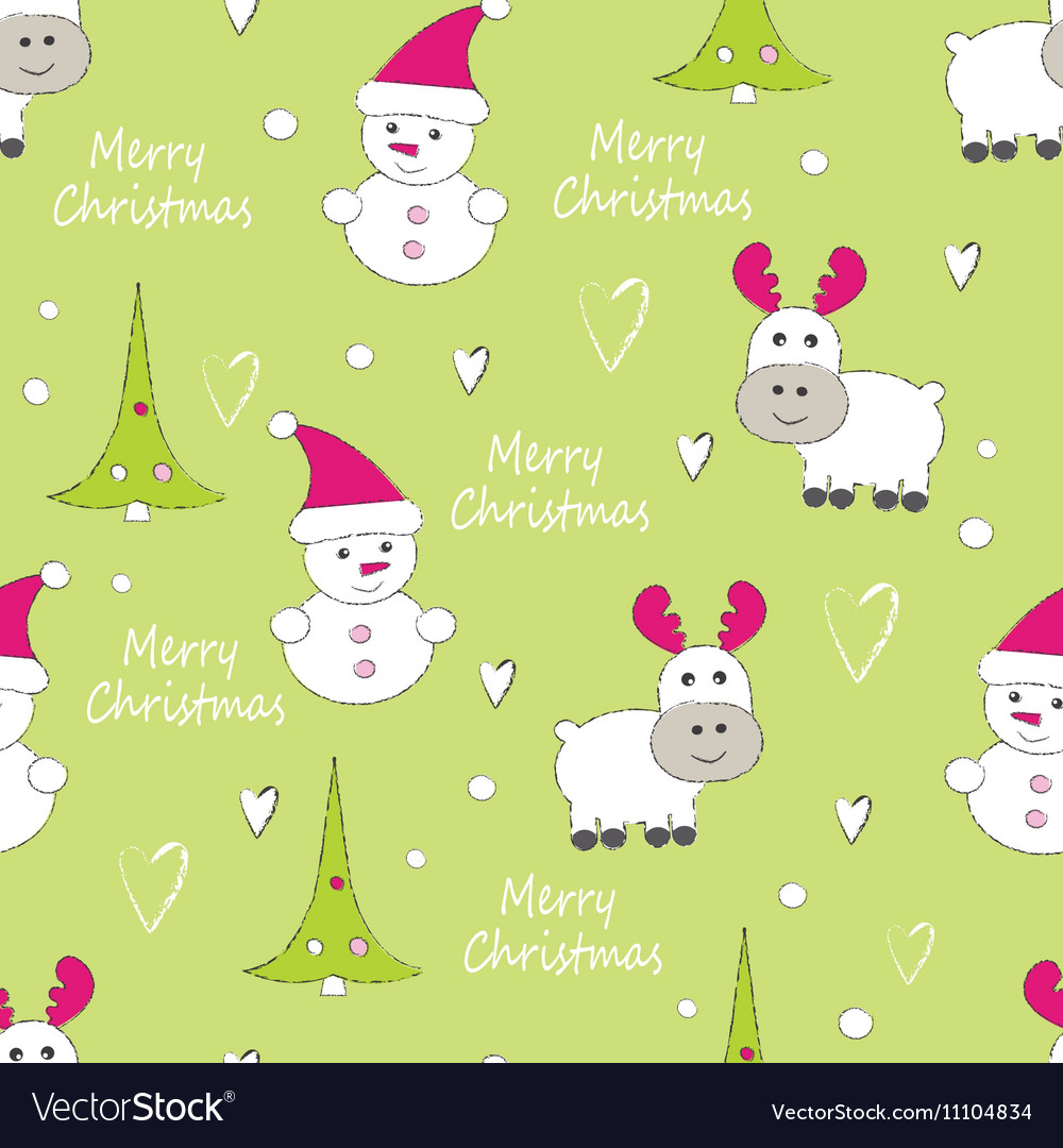 New year and christmas seamless pattern