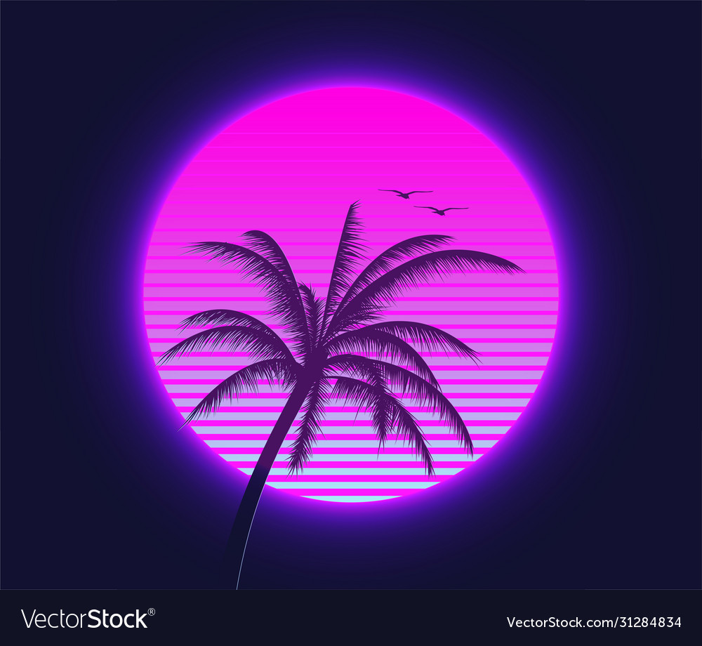 Retrowave sunset with palm silhouette and flying