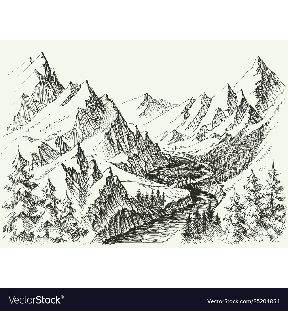 River flow in mountains hand drawn alpine