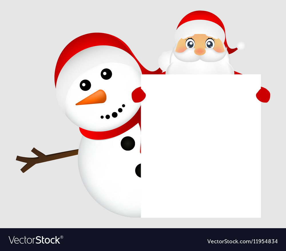 Santa Claus and snowman with white blank banner vector image