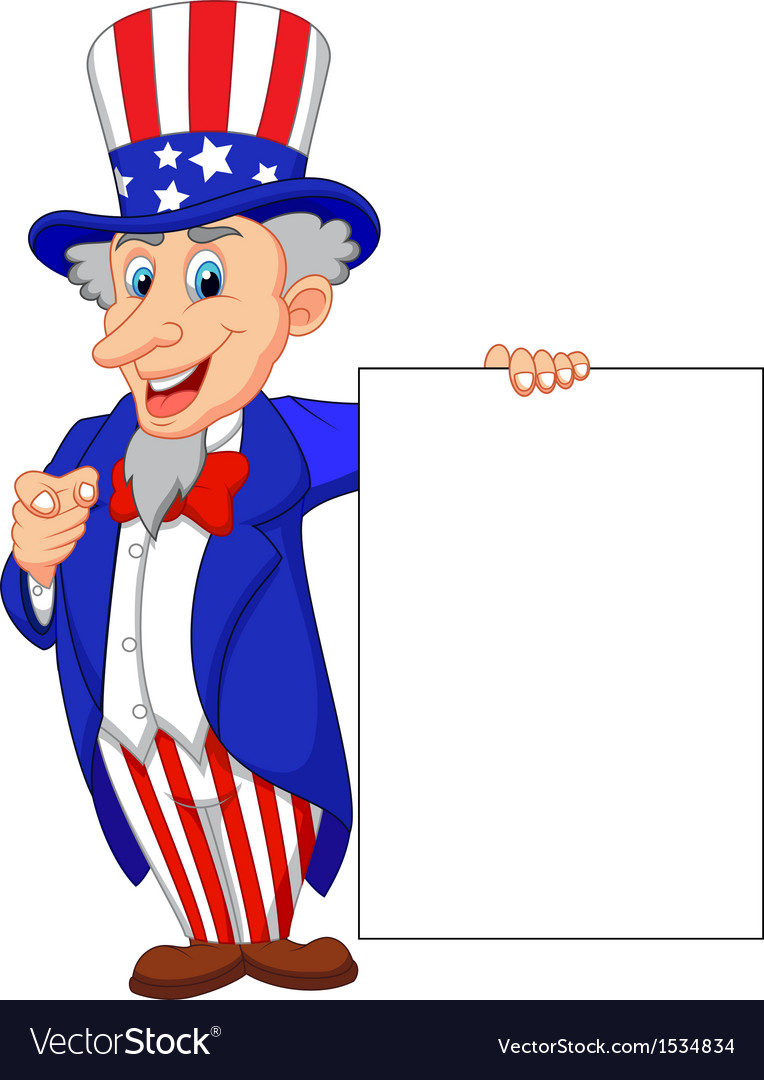 Uncle Sam Cartoon With Blank Sign Royalty Free Vector Image