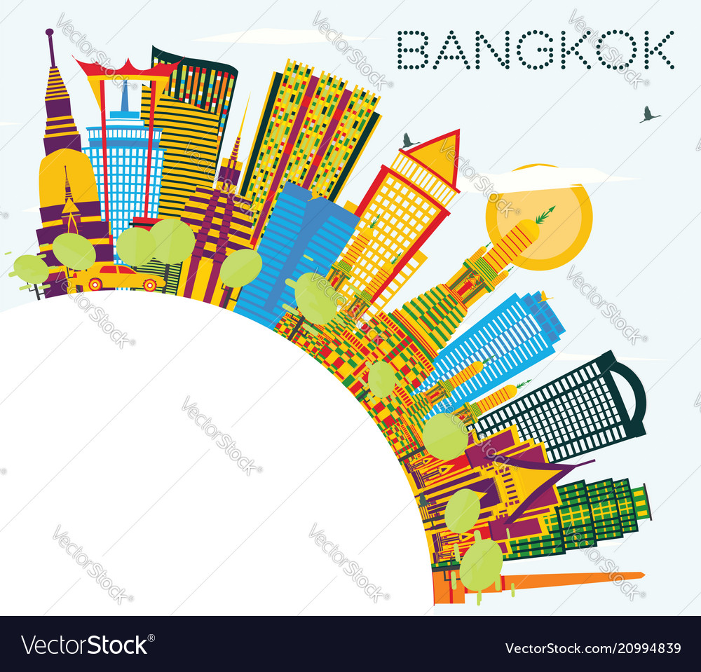 Bangkok thailand skyline with color landmarks