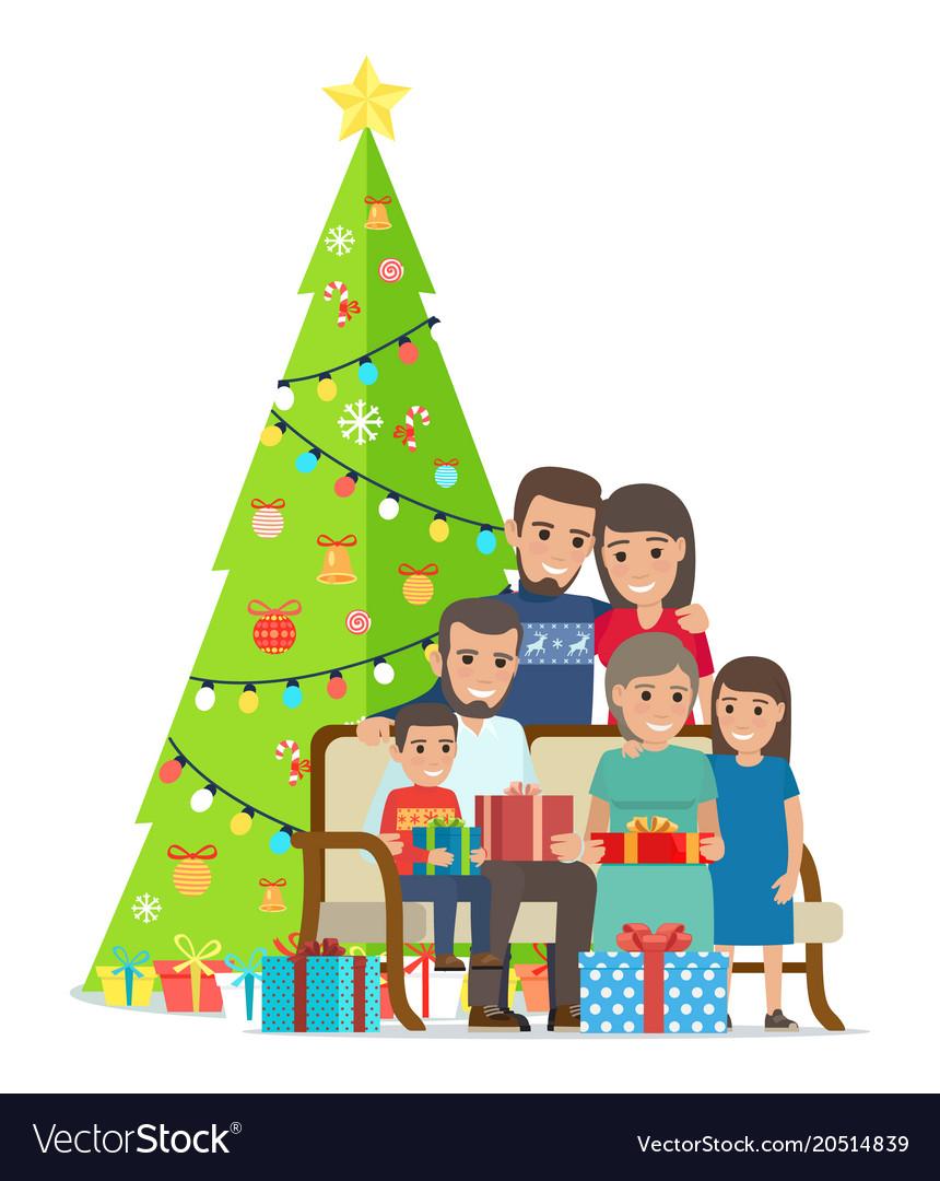 big family gathered near christmas tree with gifts vector image - Big Christmas Gifts
