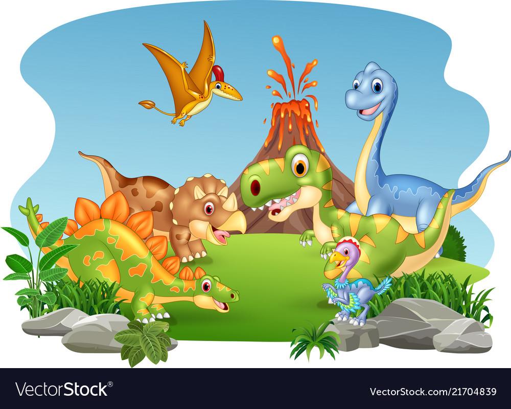 Cartoon happy dinosaurs in the jungle