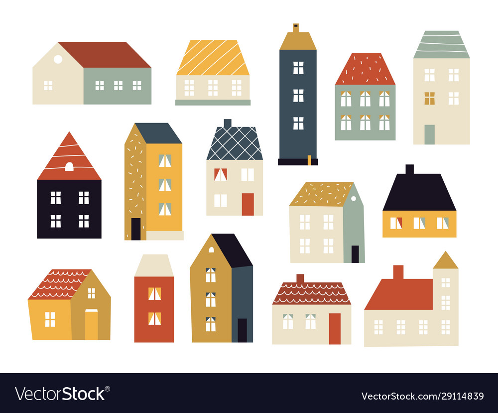 Cartoon houses various small cute houses simple