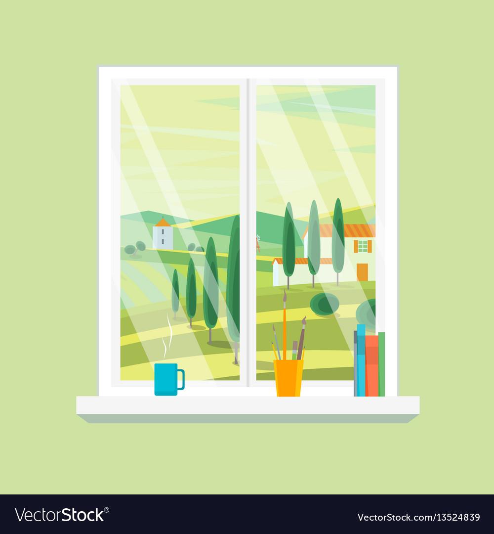 Cartoon windows farm landscape view vector image