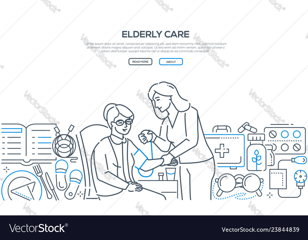 Elderly care - modern line design style banner