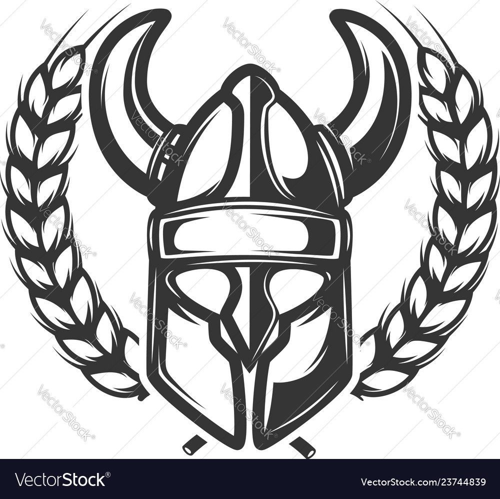 Emblem template with wreath and viking helmet
