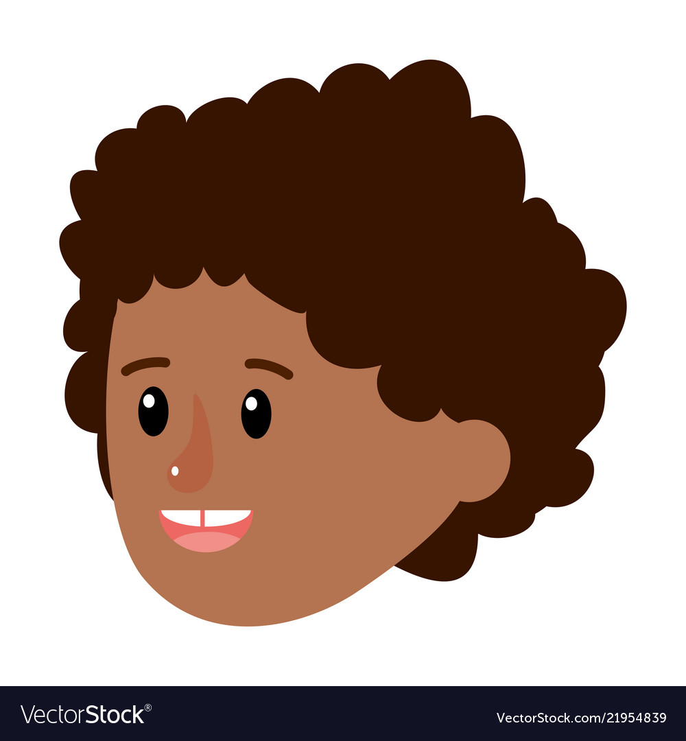 Happy Boy Head With Curly Hairstyle Royalty Free Vector