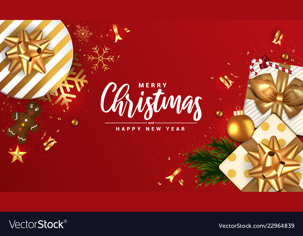 Holiday new year card - merry christmas on red