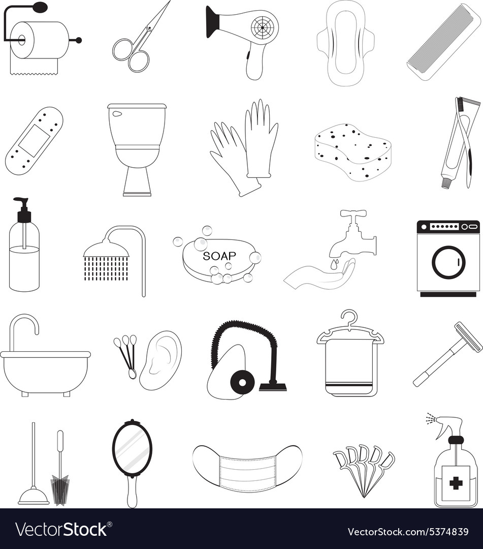 Hygiene And Bathroom Icons Set