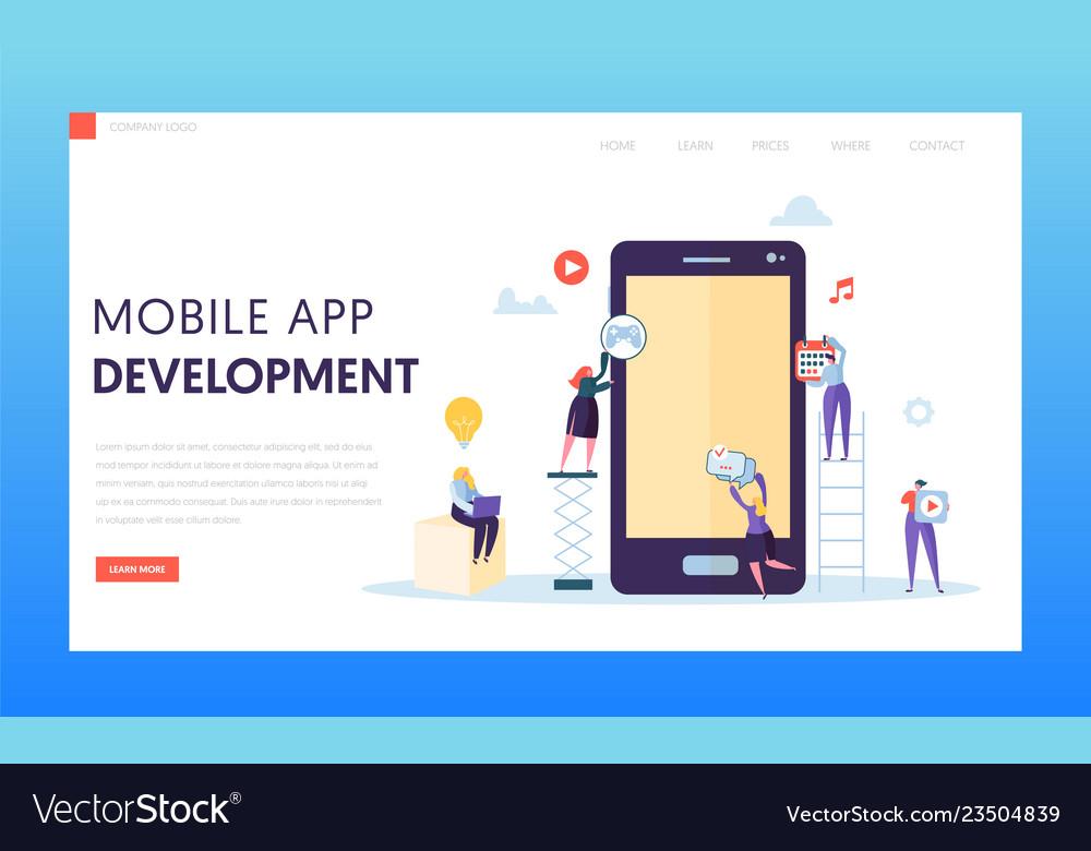 Mobile app development ab test landing page Vector Image
