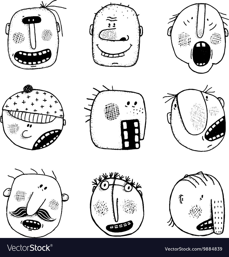 Modern Doodle Drawing Outline Cartoon People Faces vector image