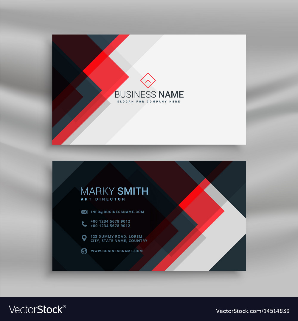 Red and black creative business card template Vector Image Pertaining To Web Design Business Cards Templates