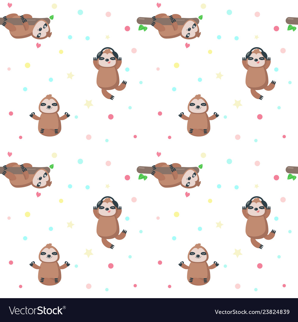 Seamless pattern with cute lazy sloths